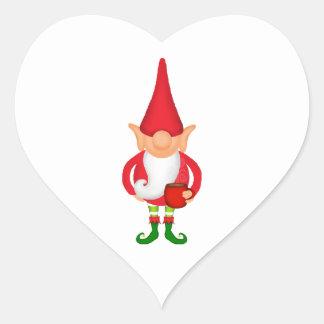Situación del duende del navidad pegatina en forma de corazón