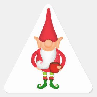 Situación del duende del navidad pegatina triangular