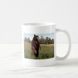 Situación del oso negro erguida taza de café