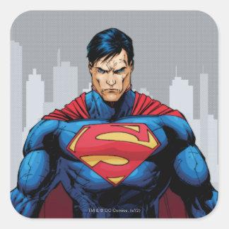 Situación del superhombre pegatina cuadrada