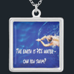 "Siwmming Swim Team Love to Swim Pool Silver Plated Necklace<br><div class=""desc"">The Earth is 75% water- can you swim?