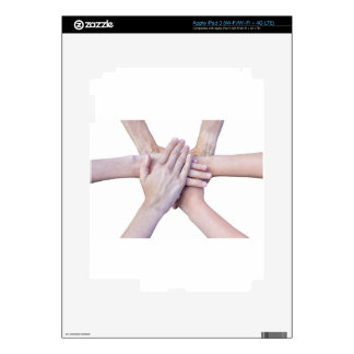 Six arms unite with hands on each other skin for iPad 3