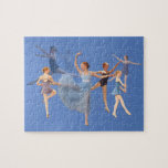 """Six Ballerinas on Blue Jigsaw Puzzle<br><div class=""""desc"""">Six difference ballerinas dance on this ballet themed image.  All are wearing different costumes and are in different poses.    Customize by adding a caption,  monogram or name of your own.</div>"""