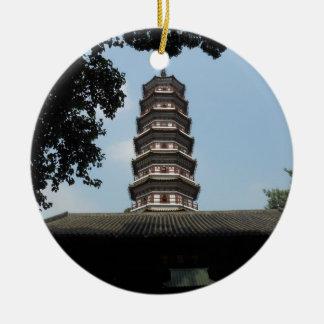 six banyan trees pagoda temple ceramic ornament