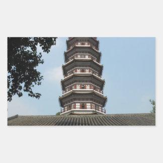 six banyan trees pagoda temple rectangular stickers
