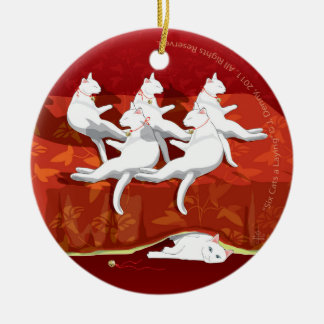 Six Cats a-Laying... Christmas Tree Ceramic Ornament