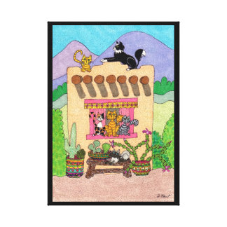 Six Cats at an Orange Adobe House Canvas Print