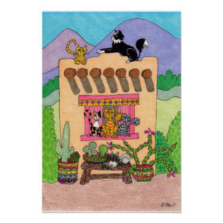 Six Cats at an Orange Adobe House Poster