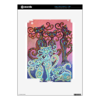 six cats in pink and blue swirls skins for the iPad 2