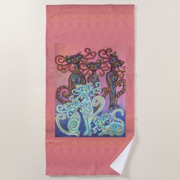 Beach Themed six cats painting beach towel