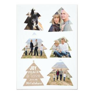 Six Christmas Trees Five Photo Modern Holiday Card