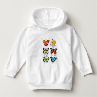 Six Colorful Artsy Butterflies with Number Words Hoodie