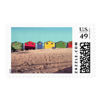 Six Colorful Beach Hut | Cape Town, South Africa Postage