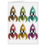 Six Colour Space Rockets Cards