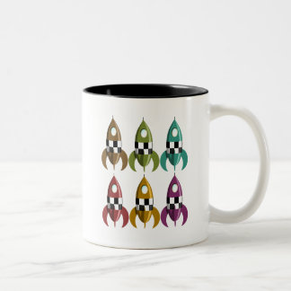 Six Colour Space Rockets Two-Tone Coffee Mug