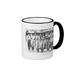 Six cowgirls at Cheyenne Frontier Days. Ringer Coffee Mug