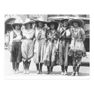 Six cowgirls at Cheyenne Frontier Days. Postcard