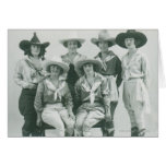 Six cowgirls in hats and sashes. card