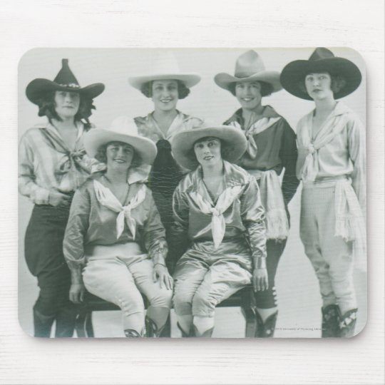 Six cowgirls in hats and sashes. mouse pad