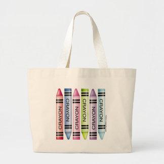 Six Crayon Designs Large Tote Bag