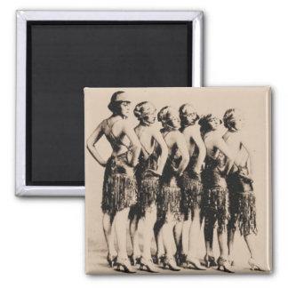 Six Dancing Girls Vintage Photo Magnet
