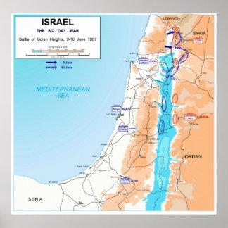 Six Day War Battle of Golan Heights Map 1967 Poster