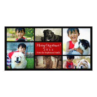 Six Family Pics Merry Christmas Photo Collage Card