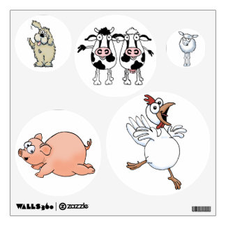 Six farm animals on wall decals. wall sticker