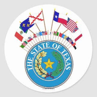 Six Flags of Texas with other Historic Flags Classic Round Sticker