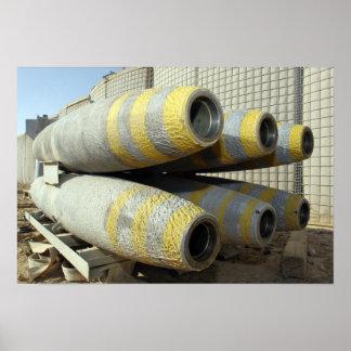 Six GBU-12 bombs sit in a rack Poster