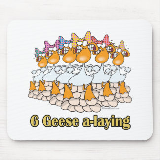 six geese a-laying 6th sixth day christmas mouse pad