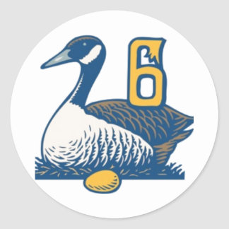 Six Geese a-Laying Classic Round Sticker