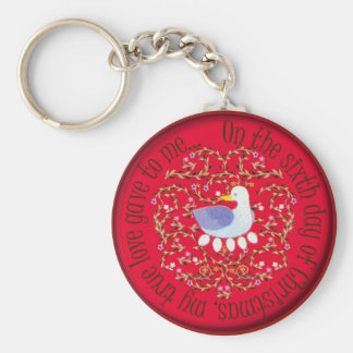 Six geese alaying basic round button keychain