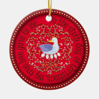 Six geese alaying ceramic ornament