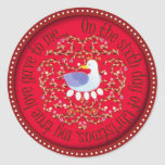 Six geese alaying round sticker
