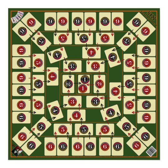Six Generations Board Card Game - Genealogical Map Poster