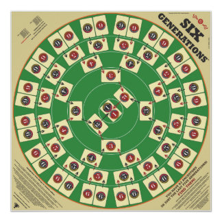 """Six Generations Card Game 32"""" x 32"""" Playing Board Poster"""