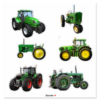 Six Green Tractors Sticker