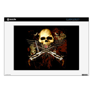 "Six Gun Revolvers Skull Computer Skin Decal For 13"" Laptop"