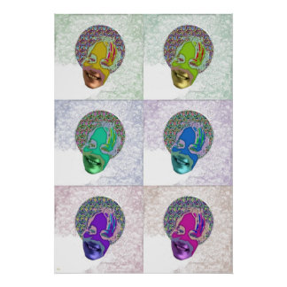 Six Happy Masked Faces Print