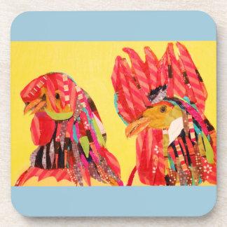 Six Hard Plastic Coasters/Cork Back/Chicken Design Coaster