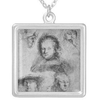 Six heads with Saskia van Uylenburgh Square Pendant Necklace