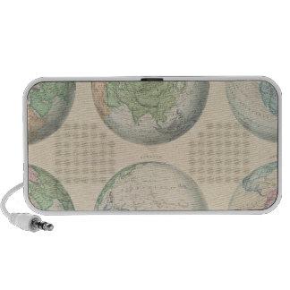 Six hemispheric maps of the world travel speaker