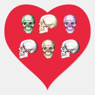 Six Human Skulls multicolored Heart Sticker