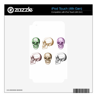 Six Human Skulls multicolored Skins For iPod Touch 4G