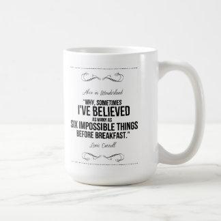 """Six impossible things"" Alice in Wonderland Mug"