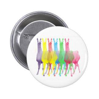 six lamas in six llama colors button