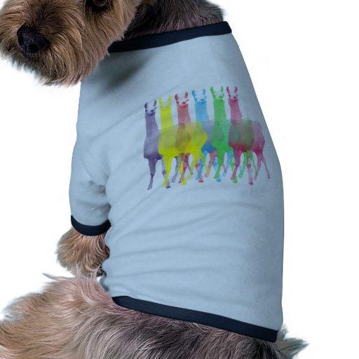 six lamas in six llama colors dog t-shirt