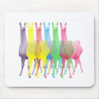 six lamas in six llama colors mouse pad
