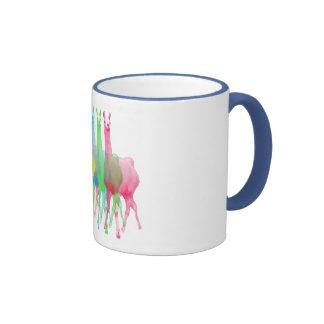 six lamas in six llama colors ringer mug